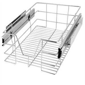 Deuba Küchenschublade 30 40 50 60 cm Verchromt 20 kg Belastbar Korbauszug Haushalt Teleskopschublade Schrankauszug 30 cm