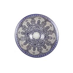 Casa Moro Waschbecken Casa Moro Mediterranes Keramik-Waschbecken Fes105 rund Ø 40 cm blau-weiß H 18 cm Handmade Aufsatzwaschbecken, Marokkanische Waschschale Handwaschbecken für Bad Waschtisch Gäste-WC, WB40315, Handmade