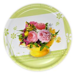 Lashuma Tablett Blumenstrauß, Melamin, Serviertablett bedruckt, Geschirrtablett Ø 40 cm