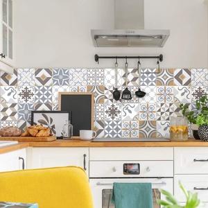 Fliesenaufkleber, 10 x 10 cm, selbstklebend, Zementfliesen, Wanddekoration, Fliesenaufkleber, für Bad und Küche – 60 Stück