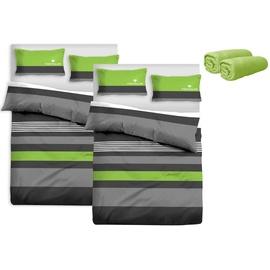 TOM TAILOR Carl Renforcé grün/grau 2 x 135 x 200 cm + 2 x 40 x 80 cm inkl. 2 Spannbettlaken