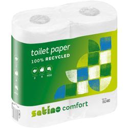 SATINO Comfort Toilettenpapier, 2-lagig, Weißes WC-Papier aus 100% Recyclingpapier, 1 Paket = 10 x 4 = 40 Rollen á 400 Blatt