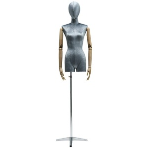 LSK- Schneiderpuppe Damenbüste Schneider Mannequin Dummy Clothing Store Mannequins Modell mit Metallfuß Auslage Regal (Color : Blue, Size : Silver)
