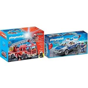 PLAYMOBIL 9463 Spielzeug-Feuerwehr-Leiterfahrzeug &  6873 - Polizei-Einsatzwagen
