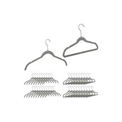 relaxdays Kleiderbügel 40 x Samt Kleiderbügel grau