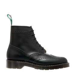 Solovair 6 Eye Brogue Boot - Black Hi-Shine