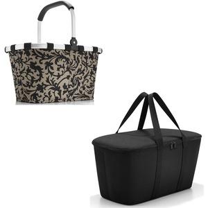 Schönes reisenthel Einkaufsset 2tlg. Bestehend aus reisenthel carrybag/Einkaufskorb und reisenthel coolerbag/Kühltasche in Dem Trendigen Dekoren (Baroque Taupe)
