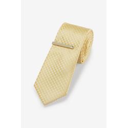 Next Krawatte Gemusterte Krawatte und Krawattenklammer (2-St) gelb