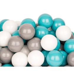 BigDean Bällebad-Bälle 500 Bälle 7cm für Bällebad Plastikbälle Spielbälle Kinder Weiß Grau Türkis