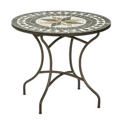 Dehner Gartenstuhl Mosaiktisch Diana, Stahl/Stein, braun/grau/weiß