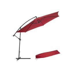 tectake Sonnenschirm Sonnenschirm Ampelschirm Ø 350cm mit Schutzhülle rot