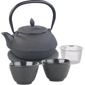 Asiatische Teekanne, Untersetzer und 2 Becher aus Gusseisen, schwarz