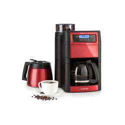 Klarstein Filterkaffeemaschine Aromatica II Duo Kaffeemaschine, integriertesMahlwerk, 1,25 l, rot, 0l Kaffeekanne rot 0 l - 22.5 cm x 39 cm x 24.5 cm