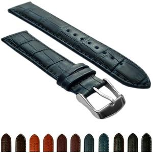 28 mm Uhrenarmband echt Leder Mock Croc Band Herren Edelstahl Schnalle gepolstert blau/blau