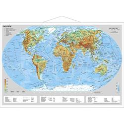 Erde physisch im Miniformat. Wandkarte mit Metallleiste