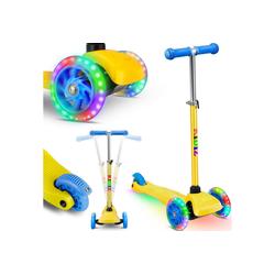 KIDIZ Cityrad, Kinder Scooter Pro1 Dreiradscooter mit PU LED Leuchtenden Räder Kinderroller Tret-Roller höhenverstellbarer Cityroller Kinderscooter für Kinder Jungen Mädchen ab 3-12 Jahre gelb