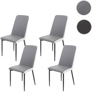 4x Esszimmerstuhl HWC-F26, Stuhl Küchenstuhl, Kunstleder ~ Sitzfläche grau