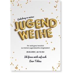 Einladungskarten Jugendweihe (10 Karten) selbst gestalten, Jugendweihe Ballon - Grau