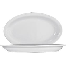 10 x Roma Uni weiß Platte oval 32cm * Saturnia