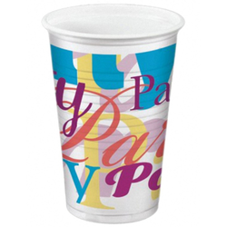 Party-Trinkbecher 200ml,  bunt - Design `PARTYTIME`, 10 Stk.