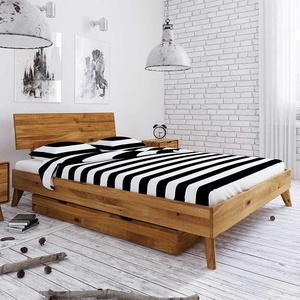 Holz Einzelbett aus Wildeiche Massivholz Bettkasten