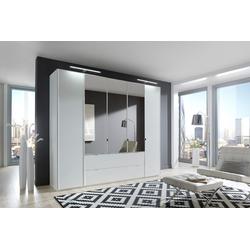5-trg. Kleiderschrank in weiß mit 3 Spiegeltüren, Maße: B/H/T ca. 250/216/58 cm