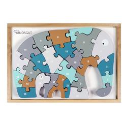 Kindsgut Puzzle Buchstaben-Puzzle Elefant, 26 Puzzleteile, Lern-Spielzeug, Motorik, Lern-Puzzle aus Holz für Babys und Kleinkinder, umweltfreundlich