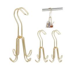 3 x Gürtelhalter, Gürtelbügel für Kleiderschrank, Metall, für Gürtel & Handtaschen, je 4 Haken, 18