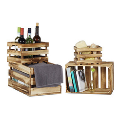 4 relaxdays Vintage Holzkisten-Set braun