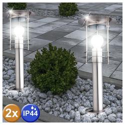 etc-shop LED Außen-Stehlampe, 2er Set Außen Steh Leuchten Geh Weg Strahler Beleuchtung Garten Stand Lampen