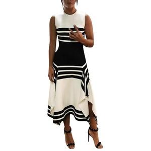 bobo4818 2021 Sommer Schwarz Weiß Streifen Ärmellos Freizeitkleid Frauen mit rundem Hals Midi Elegant Patchwork Party Kint Kleider (Large, Weiß)