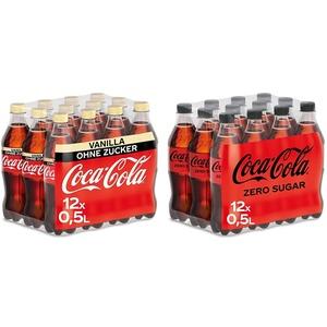 Coca-Cola Zero Sugar Vanilla / Prickelndes koffeinhaltiges Getränk ohne Zucker / 12 x 500 ml Einweg Flasche, 6000 ml & Zero Sugar, Koffeinhaltiges Erfrischungsgetränk (12 x 500 ml)