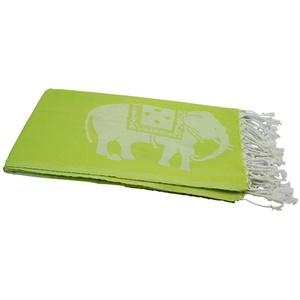 my Hamam Hamamtücher Hamamtuch kiwigrün weiß, mit großen Elefanten (1-St), mit Fransen