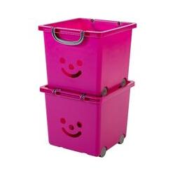set - 2 grandes boîtes de rangement pour jouet sur roulette - Smiley Kids Boxes - KCB-32, violet,
