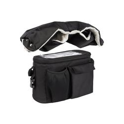 ONVAYA Kinderwagen-Tasche Kinderwagenmuff und Kinderwagen Organizer, Schwarz und Grau, Handschuhe, Kinderwagentasche schwarz
