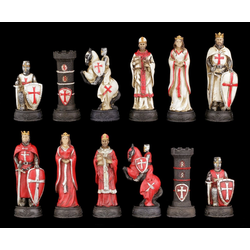 Figuren Shop GmbH Spiel, Schachfiguren Set - Kreuzritter Weiß und Rot - Strategiespiel Schach