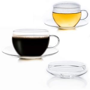 Creano 2er-Set Glas-Tasse mit Untertasse & Deckel, praktisch für ErblühTeelini, exqusiTea, Cappuccino, Latte Macchiato   200ml