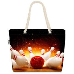 VOID Strandtasche (1-tlg), Bowling Strike Bowlingbahn Bowling Strike Bowlingbahn Sport Freizeits bunt
