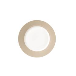 Van Well Dessertteller Vario in weiß mit taupe Rand, 20 cm