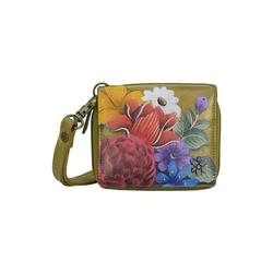 Mini Geldbörse Dreamy Floral (handbemaltes Leder) ANUSCHKA bunt