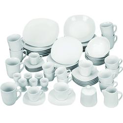 van Well Kombiservice Atrium (62-tlg.), Porzellan weiß Geschirr-Sets Geschirr, Tischaccessoires Haushaltswaren