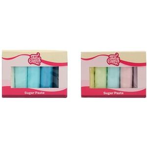 FunCakes Fondant Multipack Blue Farbpalette: Einfach zu bedienen, glatt. 5 Farben, 5 x 100 g & Fondant Multipack Pastellfarben: Einfach zu verwenden, glatt, weich und biegsam, 5 Farben, 5 x 100 g