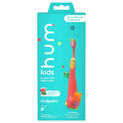 hum kids by Colgate Smart Manual Toothbrush Set with Free App & Brushing Games - Coral - Extra Soft Bristles