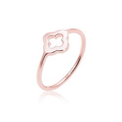 Elli Fingerring Kleeblatt Glücksbringer Luck 925 Sterling Silber, Kleeblatt rosa 52