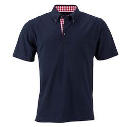 Klassisches Poloshirt im Trachtenlook   James & Nicholson navy/rot/weiß 3XL