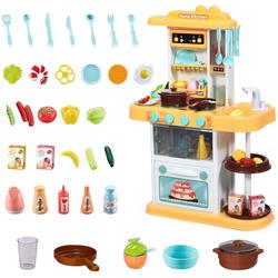 COSTWAY Spielküche Kinderküche Kinderspielküche Spielzeugküche, mit Spieluhr und Lichtern, inkl. 38 STK. Zubehör gelb