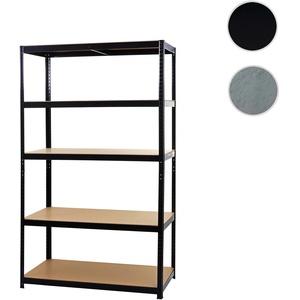 Schwerlastregal HWC-E33, Kellerregal Steckregal Lagerregal, 875kg Stahl 5 Böden ~ schwarz 200x120x60