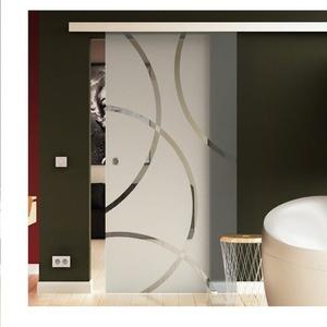 Made in Germany SoftClose Schiebetür aus Glas 900x2050 mm  Circle-Design (C) Levidor® EasySlide-System komplett Laufschiene und Muschelgriffen für Innenbereich  ESG-Sicherheitsglas