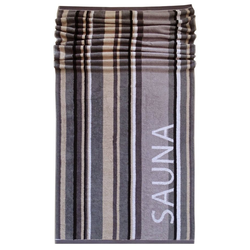 Lashuma Saunatuch Montreal (1-St), Badetuch 85x200 cm, Saunahandtuch Streifen grau