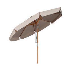 Sonnenschirm 300 cm Holz-Sonnenschirm Marktschirm Gartenschirm Terrassenschirm Rund UV50+ Taupe